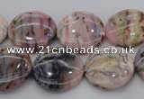 COP1262 15.5 inches 14mm flat round natural pink opal gemstone beads