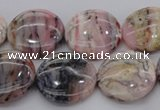 COP1263 15.5 inches 16mm flat round natural pink opal gemstone beads