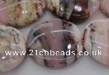 COP1268 15.5 inches 30mm flat round natural pink opal gemstone beads