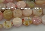 COP1293 15.5 inches 8mm flat round natural pink opal beads