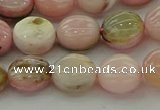COP1294 15.5 inches 10mm flat round natural pink opal beads
