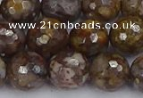 COP1390 15.5 inches 12mm faceted round fire lace opal beads