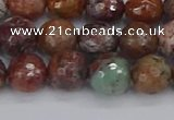 COP1395 15.5 inches 8mm faceted round African green opal beads