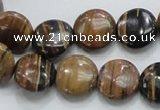 COP211 15.5 inches 14mm flat round natural brown opal gemstone beads