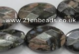 COP274 15.5 inches 20*30mm faceted oval natural grey opal gemstone beads