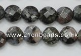 COP275 15.5 inches 12mm faceted round natural grey opal gemstone beads