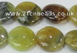 COP553 15.5 inches 20mm flat round yellow & green natural opal beads