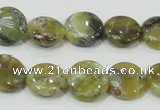 COP557 15.5 inches 14mm flat round natural yellow & green opal beads