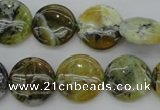 COP595 15.5 inches 16mm flat round natural yellow & green opal beads