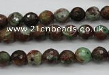 COP962 15.5 inches 8mm faceted round green opal gemstone beads