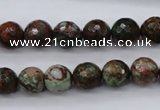 COP965 15.5 inches 14mm faceted round green opal gemstone beads