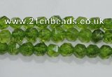 COQ115 15.5 inches 6mm faceted nuggets dyed olive quartz beads