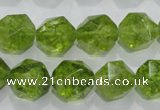 COQ118 15.5 inches 12mm faceted nuggets dyed olive quartz beads