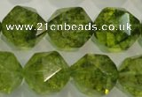 COQ120 15.5 inches 16mm faceted nuggets dyed olive quartz beads