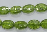 COQ36 15.5 inches 10*14mm oval dyed olive quartz beads wholesale