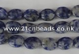 COV10 15.5 inches 8*10mm oval blue spot gemstone beads wholesale