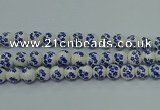CPB501 15.5 inches 6mm round Painted porcelain beads