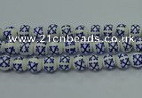 CPB521 15.5 inches 6mm round Painted porcelain beads