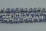 CPB525 15.5 inches 14mm round Painted porcelain beads