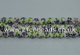 CPB621 15.5 inches 6mm round Painted porcelain beads