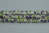 CPB622 15.5 inches 8mm round Painted porcelain beads