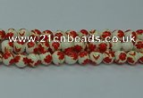 CPB763 15.5 inches 10mm round Painted porcelain beads
