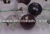 CPC13 15.5 inches 12mm faceted round green phantom quartz beads