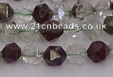 CPC15 15.5 inches 6mm faceted nuggets green phantom quartz beads