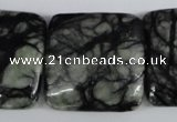 CPJ228 15.5 inches 30*30mm square green picasso jasper beads
