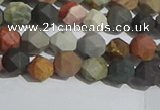 CPJ590 15.5 inches 6mm faceted nuggets matte polychrome jasper beads