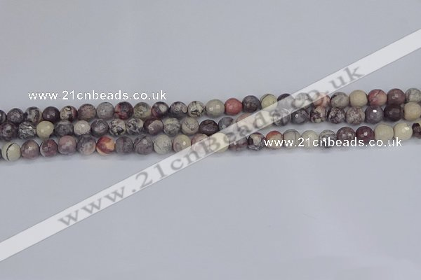 CPJ610 15.5 inches 4mm faceted round purple striped jasper beads