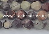 CPJ620 15.5 inches 6mm faceted nuggets purple striped jasper beads