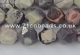 CPJ622 15.5 inches 10mm faceted nuggets purple striped jasper beads