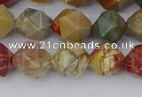 CPJ627 15.5 inches 8mm faceted nuggets picasso jasper beads