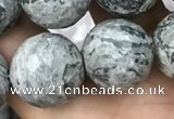 CPJ646 15.5 inches 16mm faceted round grey picture jasper beads