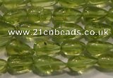 CPO113 15 inches 3.5*5mm teardrop natural peridot beads wholesale
