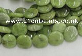 CPO15 15.5 inches 10mm flat round olivine gemstone beads wholesale