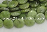 CPO16 15.5 inches 12mm flat round olivine gemstone beads wholesale