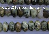 CPS118 15.5 inches 6*12mm faceted rondelle green peacock stone beads
