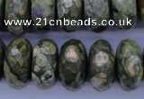 CPS120 15.5 inches 10*20mm faceted rondelle green peacock stone beads