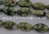CPS136 15.5 inches 6*12mm marquise green peacock stone beads
