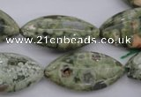 CPS140 15.5 inches 15*30mm marquise green peacock stone beads
