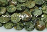 CPS84 15.5 inches 12mm faceted flat round green peacock stone beads