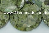 CPS88 15.5 inches 40mm faceted flat round green peacock stone beads