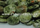 CPS91 15.5 inches 16*20mm faceted oval green peacock stone beads