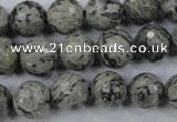 CPT114 15.5 inches 12mm faceted round grey picture jasper beads