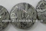 CPT127 15.5 inches 30mm faceted coin grey picture jasper beads