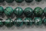 CPT216 15.5 inches 12mm faceted round green picture jasper beads