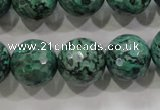 CPT218 15.5 inches 16mm faceted round green picture jasper beads