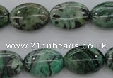 CPT318 15.5 inches 10*14mm oval green picture jasper beads